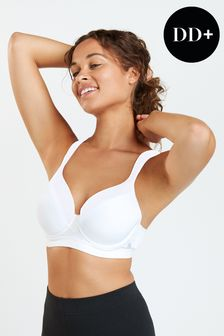 White Sports High Impact Full Cup Wired Bra