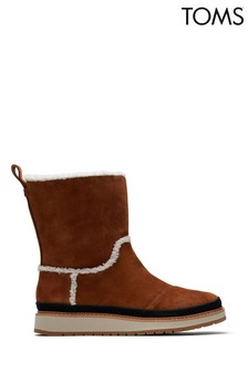 TOMS Brown Makenna Leather Wedge Mid Boots