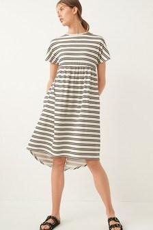 Ecru Stripe Short Sleeve Dress