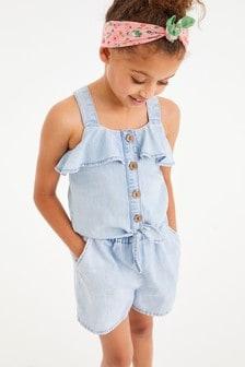 Denim Blue Shorts Cotton Co-Ord (3-16yrs)