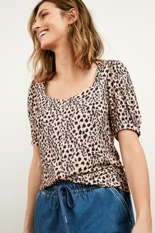 Neutral Animal Button Front Short Sleeve Top
