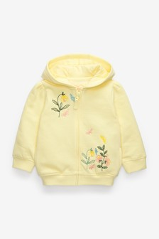 Yellow Embroidered Hoody Soft Touch Jersey (3mths-7yrs)