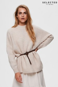 Selected Femme Beige Lulu Supersoft High Neck Jumper
