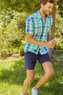 Joules Green Wilson Short Sleeve Classic Fit Check Shirt