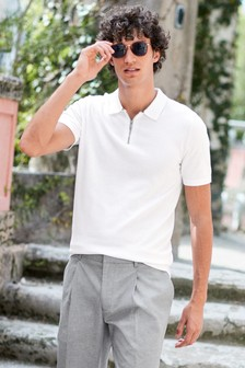 White Premium Zip Neck Polo