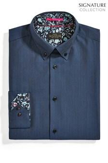 Blue Regular Fit Single Cuff Signature Trimmed Shirt