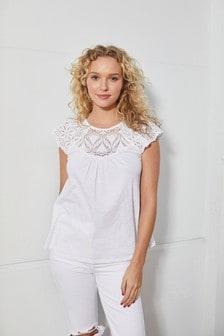 White Lace Shoulder Top