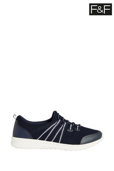 F&F Navy Knit Elastic Lace Slip-Ons