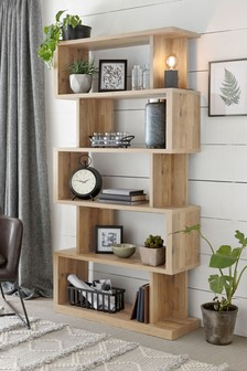 Light Rustic Oak Effect Bronx Tall Shelf