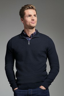 Navy Textured Mock Shirt Jumper