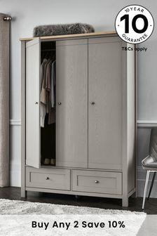 Dove Grey Malvern Triple Wardrobe