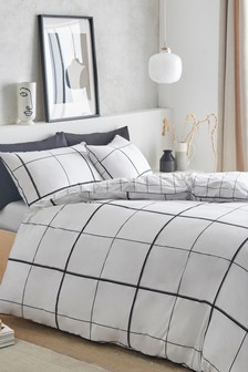 Cotton Rich Monochrome Windowpane Check Duvet Cover And Pillowcase Set