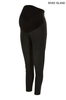 River Island Black Maternity Matt Coated Leggings