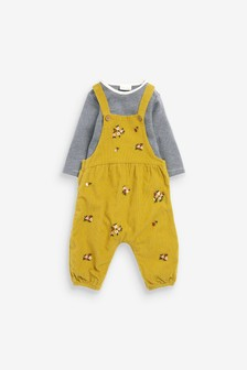 Citrine Floral Embroidered Cord Dungarees And Stripe Bodysuit (0mths-2yrs)
