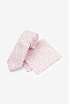 Pink Floral Silk Tie And Pocket Square Set