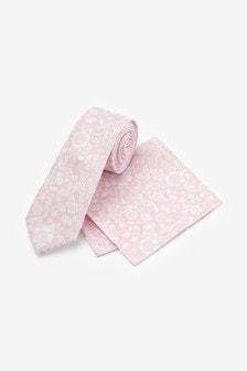 Pink Slim Floral Silk Tie And Pocket Square Set
