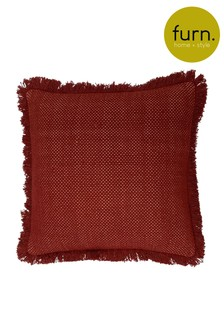 Linen Look Frayed Edge Cushion by Furn