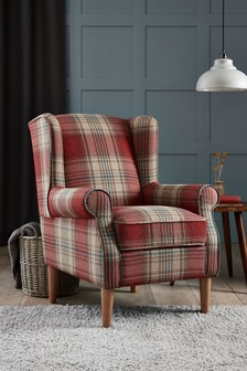 Versatile Check Stirling Red Sherlock II Armchair With Light Legs
