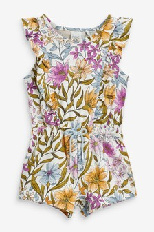 Lilac Floral Organic Cotton Short Playsuit (3mths-7yrs)
