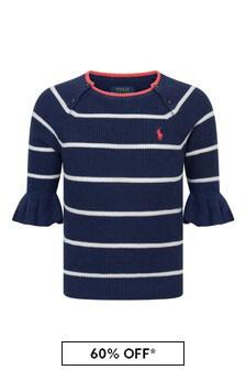 Girls Navy Striped Cotton Sweater