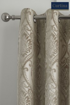 Curtina Chateau Textured Chenille Damask Lined Eyelet Curtains