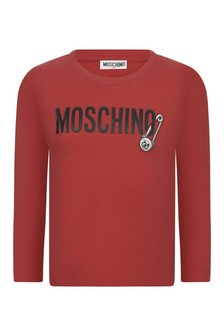 Girls Red Cotton Long Sleeve T-Shirt