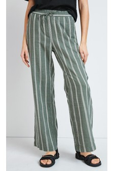 Khaki Stripe Linen Blend Wide Leg Trousers