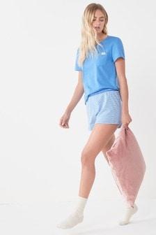 Cobalt Blue Stripe Cotton Short Set