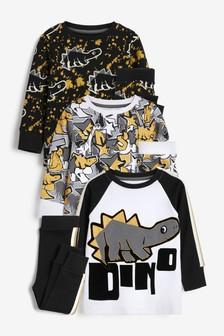 Black/Gold Dino 3 Pack Snuggle Pyjamas (9mths-12yrs)
