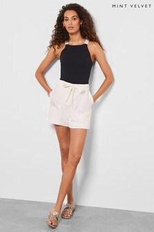 Mint Velvet White Ivory Tie Waist Shorts