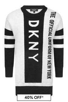 Girls Black/White Knitted Logo Dress