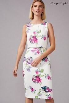 Phase Eight Cream Tabatha Printed Scuba Dress