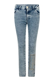 Girls Blue Cotton Logo Jeans