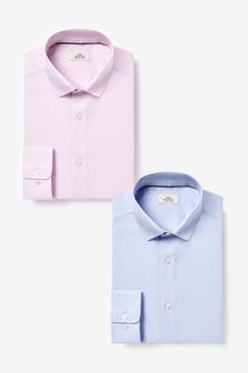 Blue/Pink Slim Fit Single Cuff Shirts Two Pack