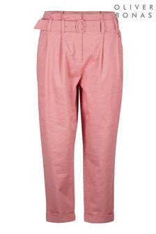 Oliver Bonas Pink Cotton Tapered Leg Trousers