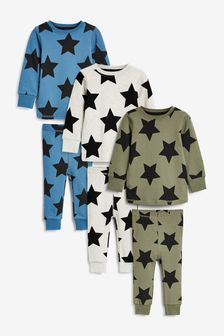 Khaki/Blue Star 3 Pack Snuggle Pyjamas (9mths-12yrs)