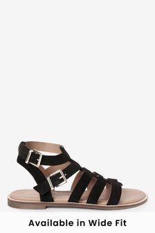 Black Suede Regular/Wide Fit Forever Comfort® Gladiator Sandals