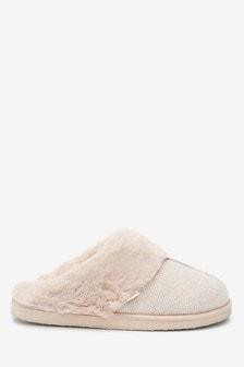 Oatmeal Sparkle Mule Slippers