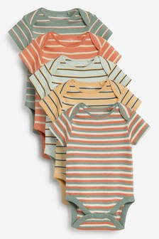 Bold Stripe 5 Pack Short Sleeve Bodysuits (0mths-3yrs)