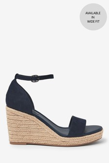 Navy Two Part Espadrille Wedges