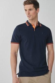 Navy Fluro Tipped Regular Fit Polo Shirt