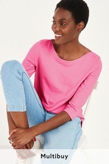 Bright Pink Boat Neck Top
