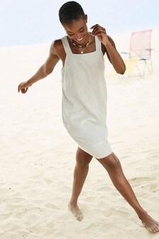 Ecru Stripe Linen Blend Square Neck Dress