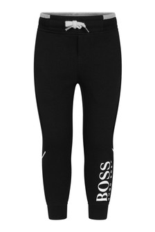 Boys Black Logo Joggers
