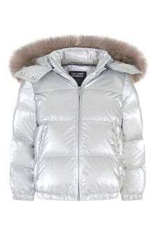 Girls Silver Down Padded Jacket