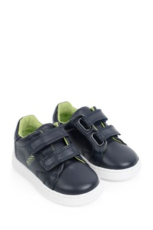 Boys Navy Leather Logo Trainers