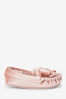 Pink Velour Bow Moccasin Slippers (Older)