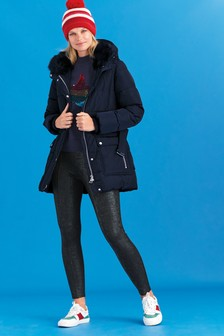 Navy Belted Padded Jacket