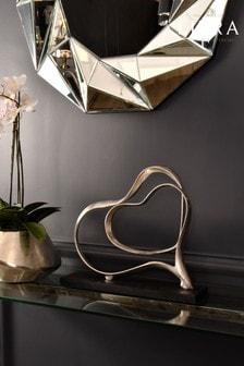 Libra Silver Double Heart Aluminium Sculpture