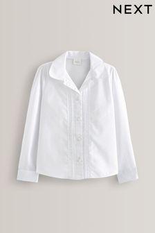 White Long Sleeve Lace Trim Blouse (3-14yrs)